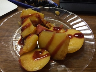 Afternoon snack at work of peaches and jamaica chamoy